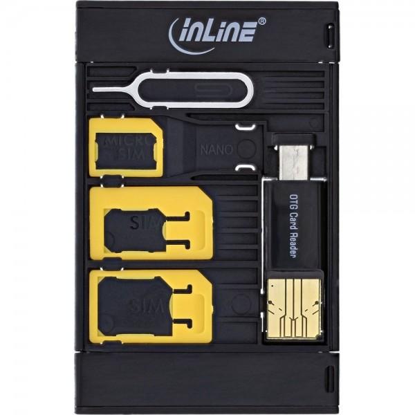 InLine® SIM-BOX Simkartenadapter und Zubehörbox mit OTG Kartenleser