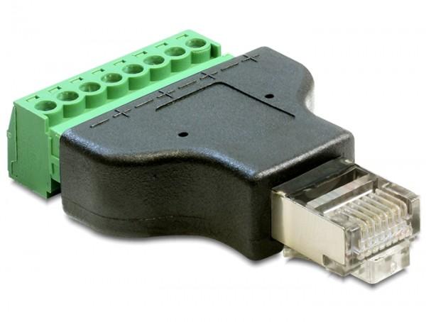 Delock 65389 Adapter RJ45 Stecker > Terminalblock 8 Pin 2-teilig