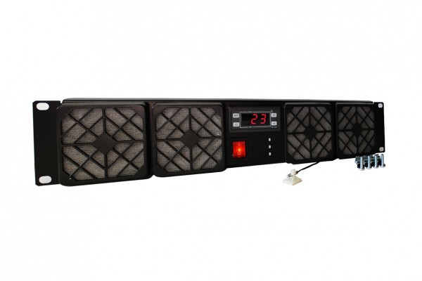 2HE Rackkühler 4x 80x25mm Lüfter Thermostat 230V AC ~144m³/h