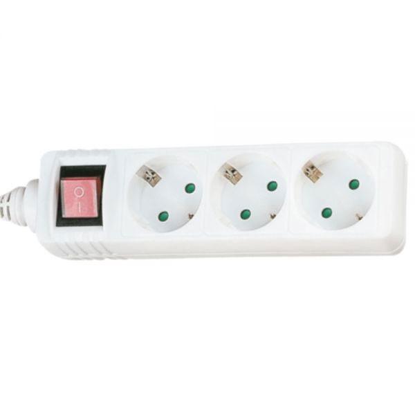 InLine® Steckdosenleiste mit Schalter 3-fach Schutzkontakt 1,5m, weiß