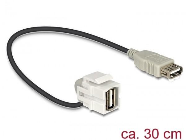Delock 86327 Keystone Modul USB 2.0 A Buchse > USB 2.0 A Buchse 110° mit Kabel