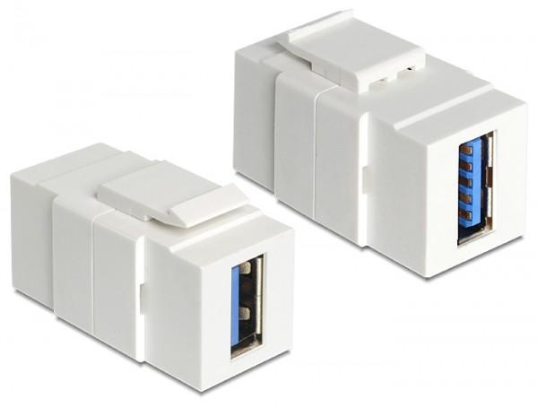 Delock 86319 Keystone Modul USB 3.0 A Buchse > USB 3.0 A Buchse weiß