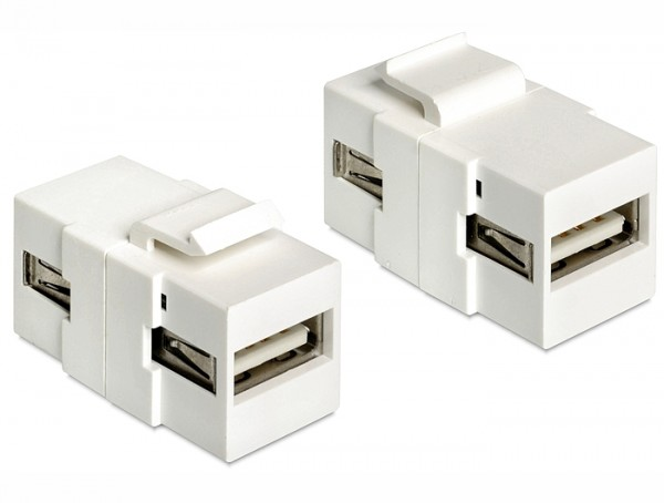 Delock 86317 Keystone Modul USB 2.0 A Buchse > USB 2.0 A Buchse weiß