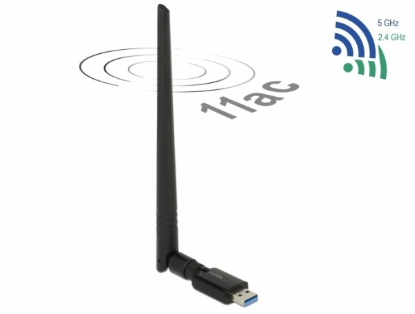 Delock USB 3.0 Dualband WLAN ac/a/b/g/n Stick 867 + 300 Mbps mit externer Antenne