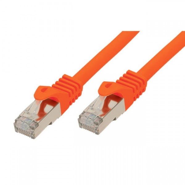 CAT.7/6a Patchkabel S/STP 0,25m Orange