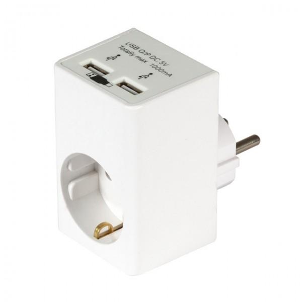 Netzadapter Schutzkontakt auf Schutzkontakt + 2 x USB Ladefunktion