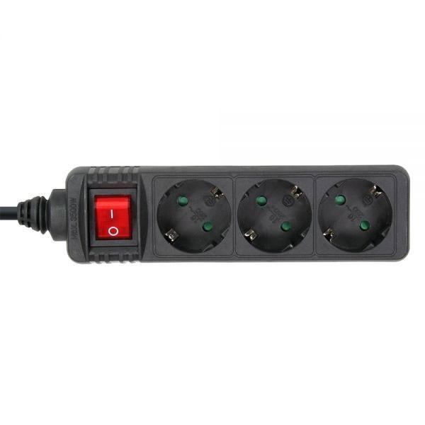 InLine® Steckdosenleiste mit Schalter 3-fach Schutzkontakt 1,5m, schwarz