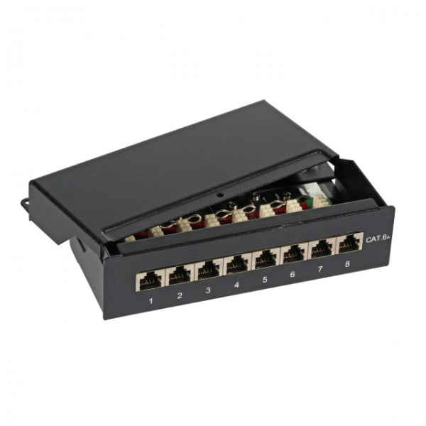 8 Port Cat.6A  Mini Patchpanel Schwarz