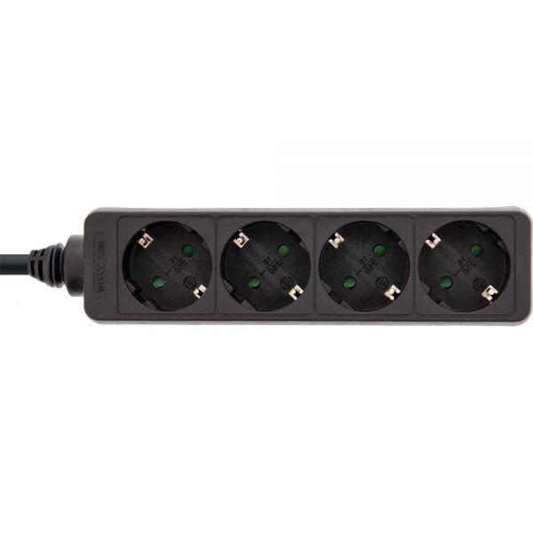 InLine® Steckdosenleiste 4-fach Schutzkontakt, schwarz
