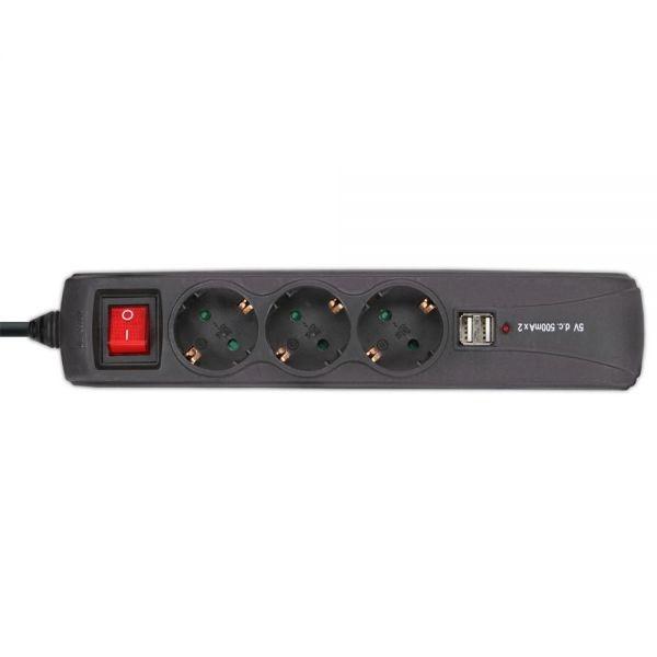 InLine® Steckdosenleiste mit Schalter mit USB 3-fach Schutzkontakt, schwarz
