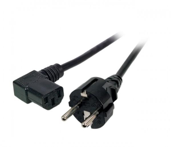 Netzleitung Schutzkontakt auf C13 rechts gewinkelt schwarz