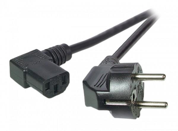 Netzleitung Schutzkontak gewinkeltt auf C13 rechts gewinkelt schwarz