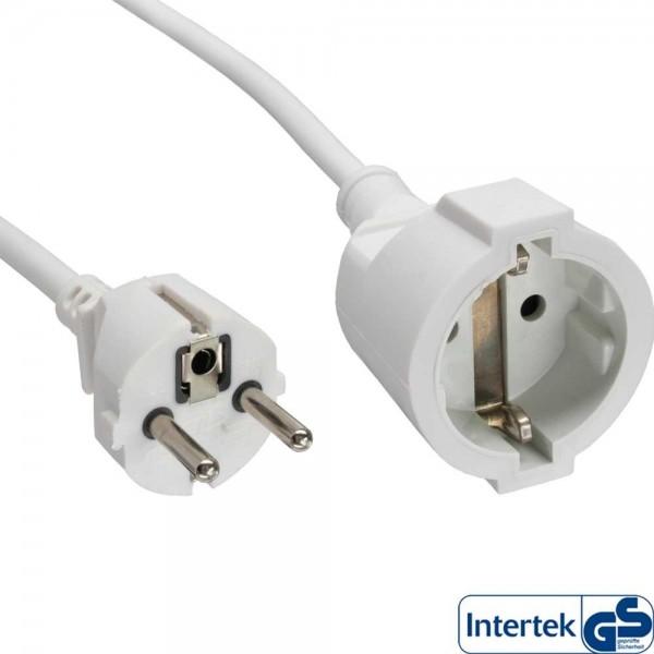 InLine® Strom-Verlängerung Schutzkontakt Stecker / Buchse weiß