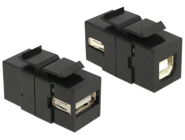 Delock 86370 Keystone Modul USB 2.0 A Buchse > USB 2.0 B Buchse schwarz