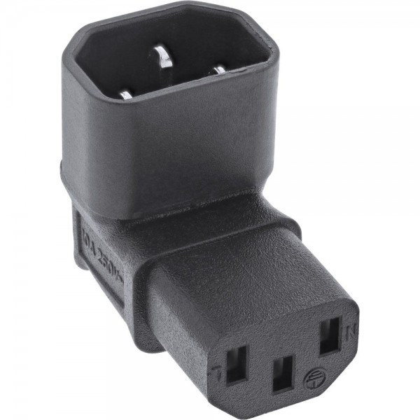 InLine Netzadapter IEC 60320 C14 / C13 oben/unten gewinkelt Kaltgeräte