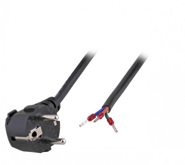 Netzleitung Schutzkontakt gewinkelt zu Open End mit Aderendhülse schwarz