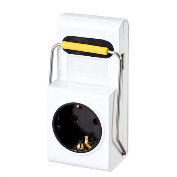 Netzadapter Schutzkontakt auf Schutzkontakt + 1 x USB mit Halteklammer