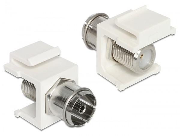 Delock 86302 Keystone Modul IEC Koax Buchse > F Buchse weiss
