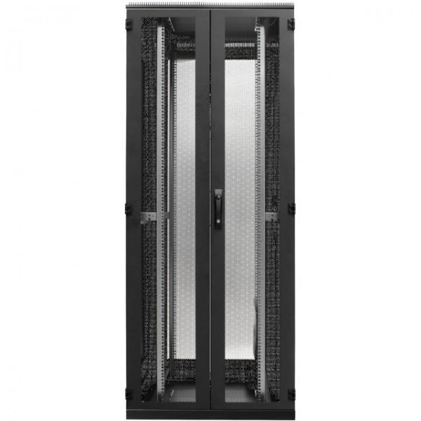 """19\"""" Serverschrank 42HE, B=600 T=1000 H=1980, 2-teilige Türen Schwarz"""